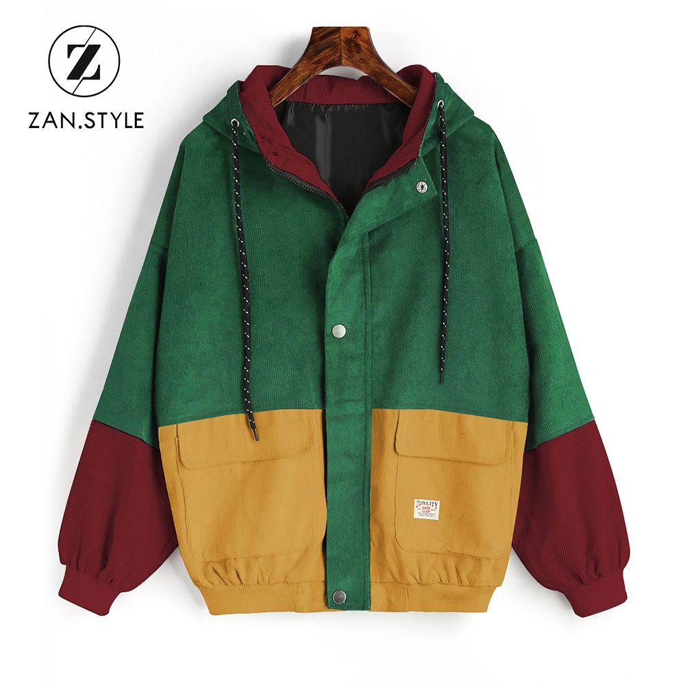 ZAN. STIL Kış Sıcak Renk Blok Kapşonlu Kadife Ceket İpli Hit Renk Yamalı Cep Kalın Temel Kadın Coat Harajuku yeni