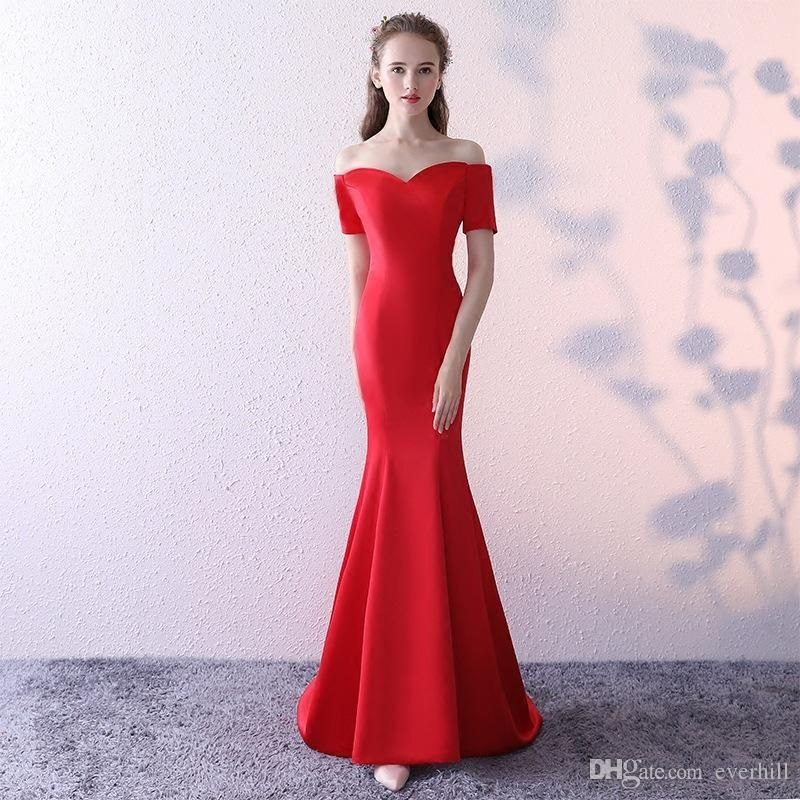Simple Red Short Sleeve Mermaid Evening Dresses Elegant Long Dresses For  Prom Avondjurken 2018 Sweep Train Satin Formal Dinner Gowns Party c61a9c2e4735