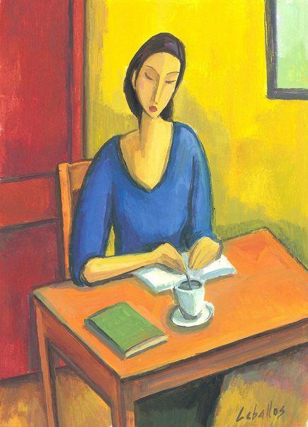 Guillermo Martí Ceballos.      Chica con libros y café (2010)