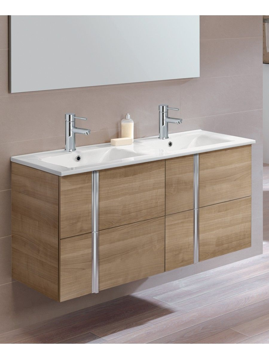 Athena Walnut Drawer Cm Wall Hung Vanity Unit And Basin Mounted Double
