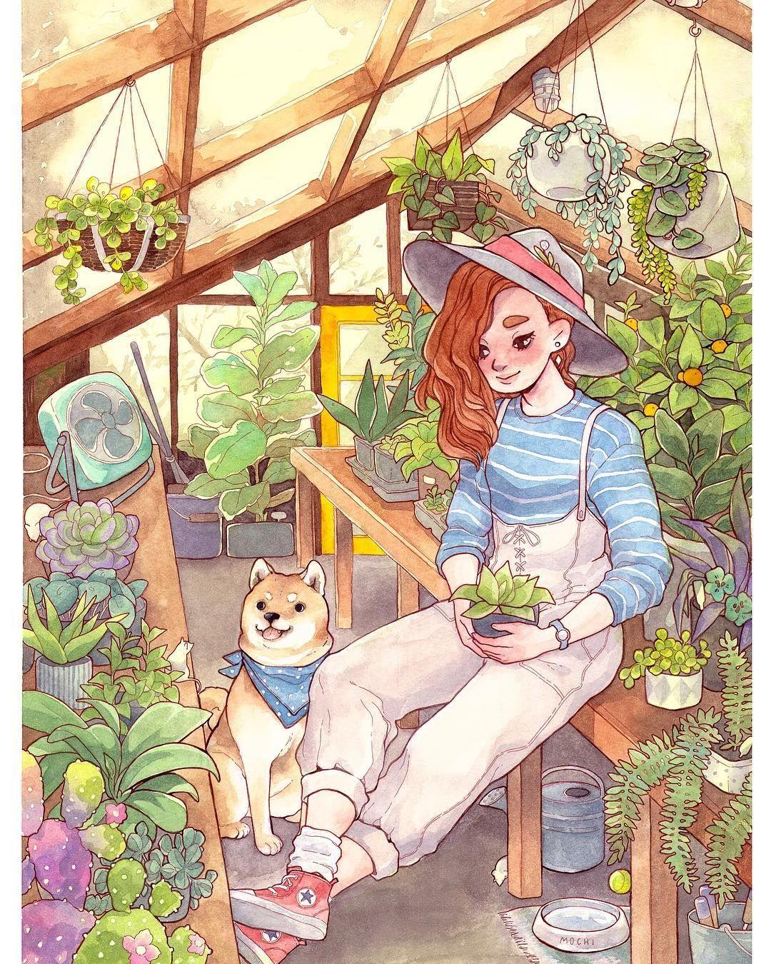 Green House Illustration by Alisa Vysochina