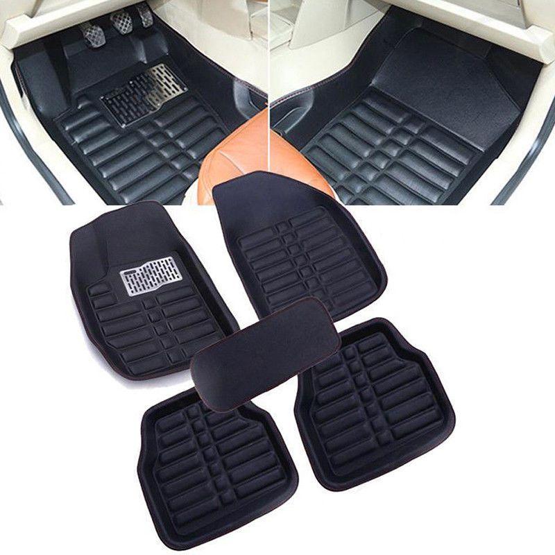5pcs Universal Car Auto Floor Mats Floorliner Front Rear Carpet All Weather Mat Car Floor Mats Floor Mats Black Car