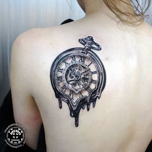 Melting Watch Blackandgrey Tattoo Tatuaje Tatuagem Insightstudios1062 Watch Tattoos Clock Tattoo Tattoos