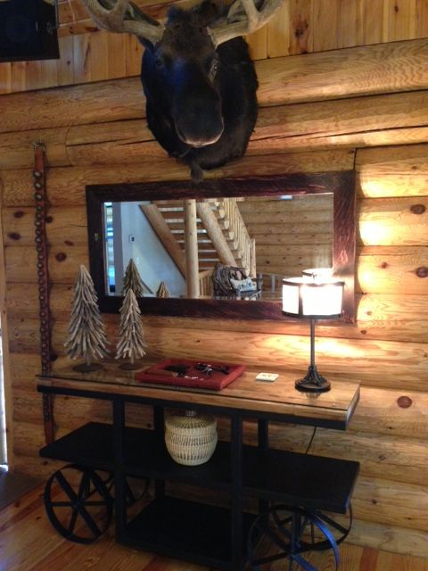 Moose wall at the Lake House - custom Etsy mirror - Ammunitions Factory Cart from Arhaus