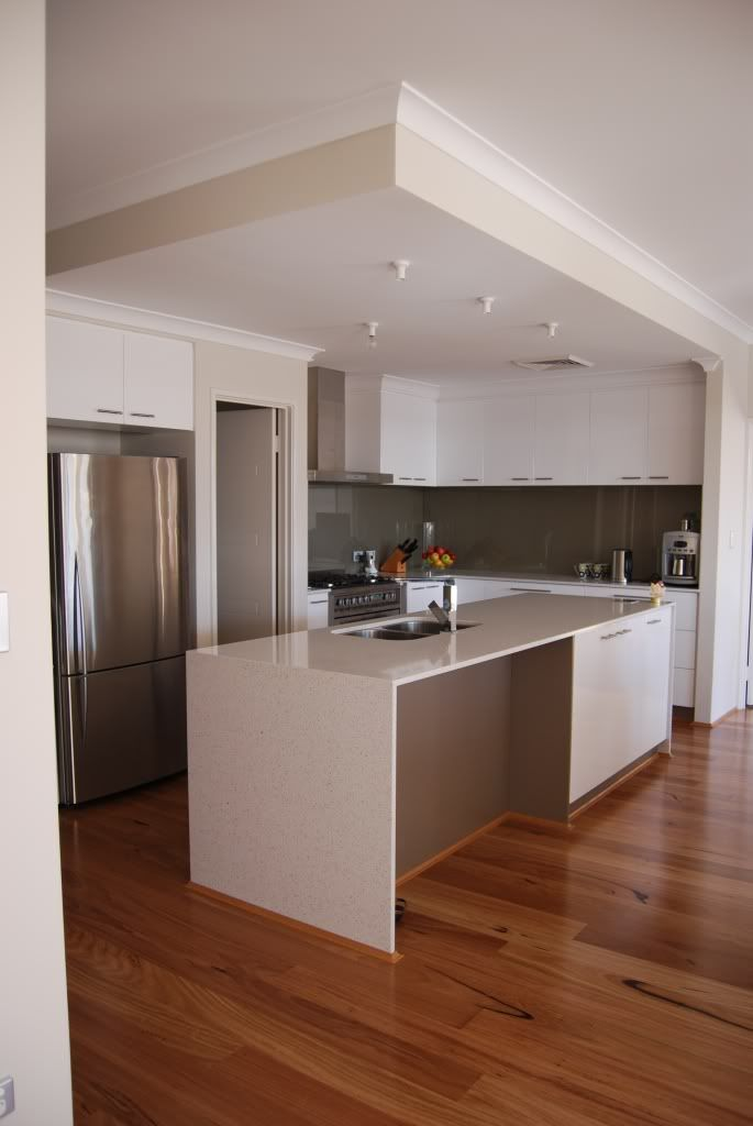 New Basmati Stone benches + Bulkhead over kitchen   Humble Abode in ...