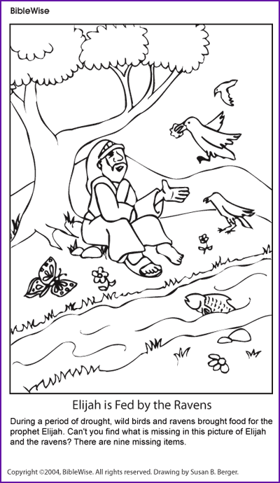 coloring elijah and the ravens kids korner biblewise - Elijah Bible Story Coloring Pages