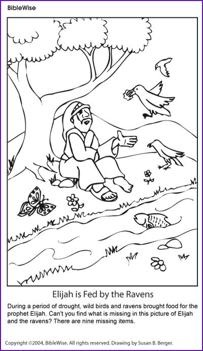 Coloring Elijah And The Ravens Kids Korner Sunday School Coloring Pages Elijah And The Widow Bible School Crafts