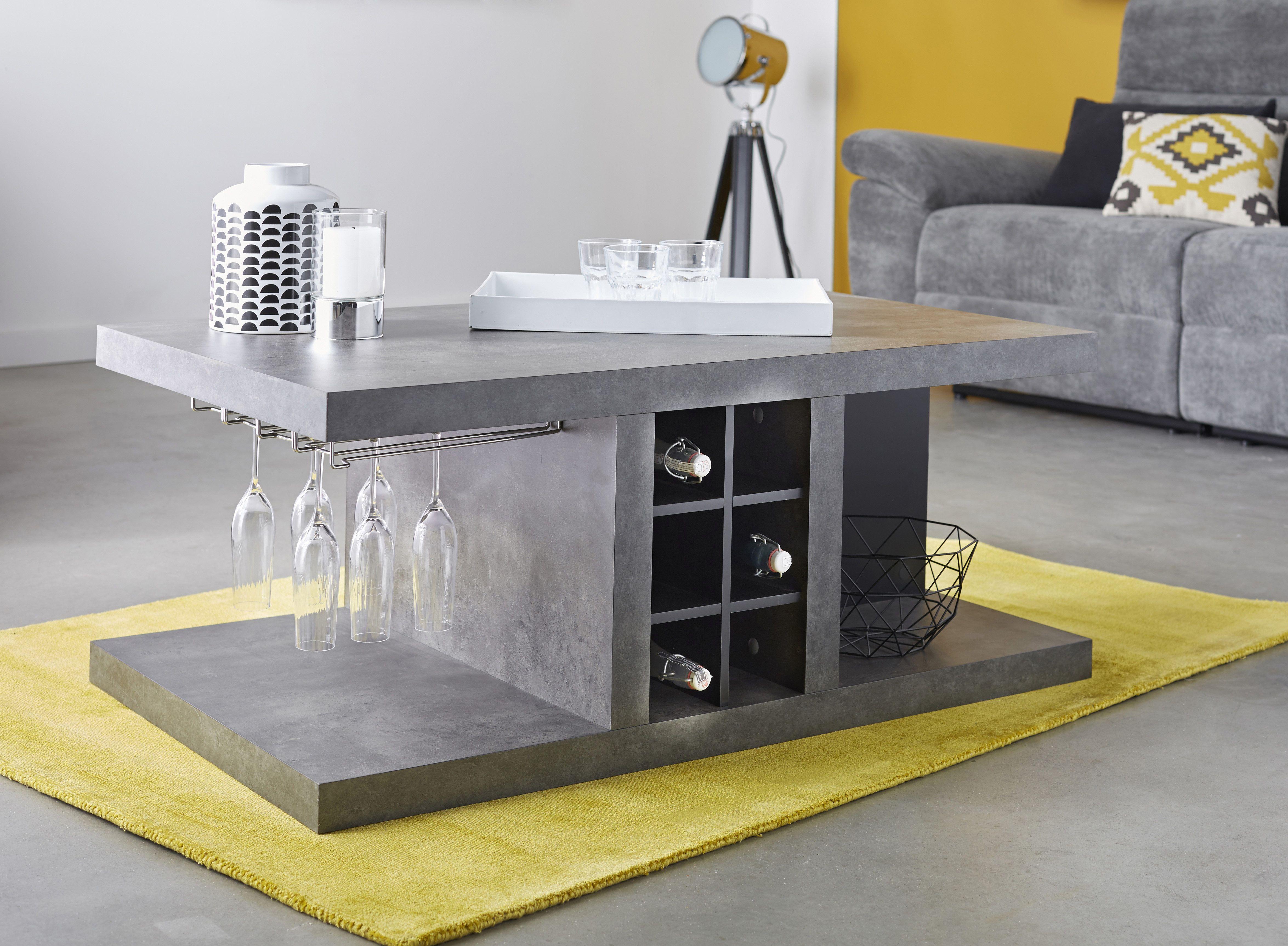Hilo Table Basse Bar Revetement Effet Beton Decoration