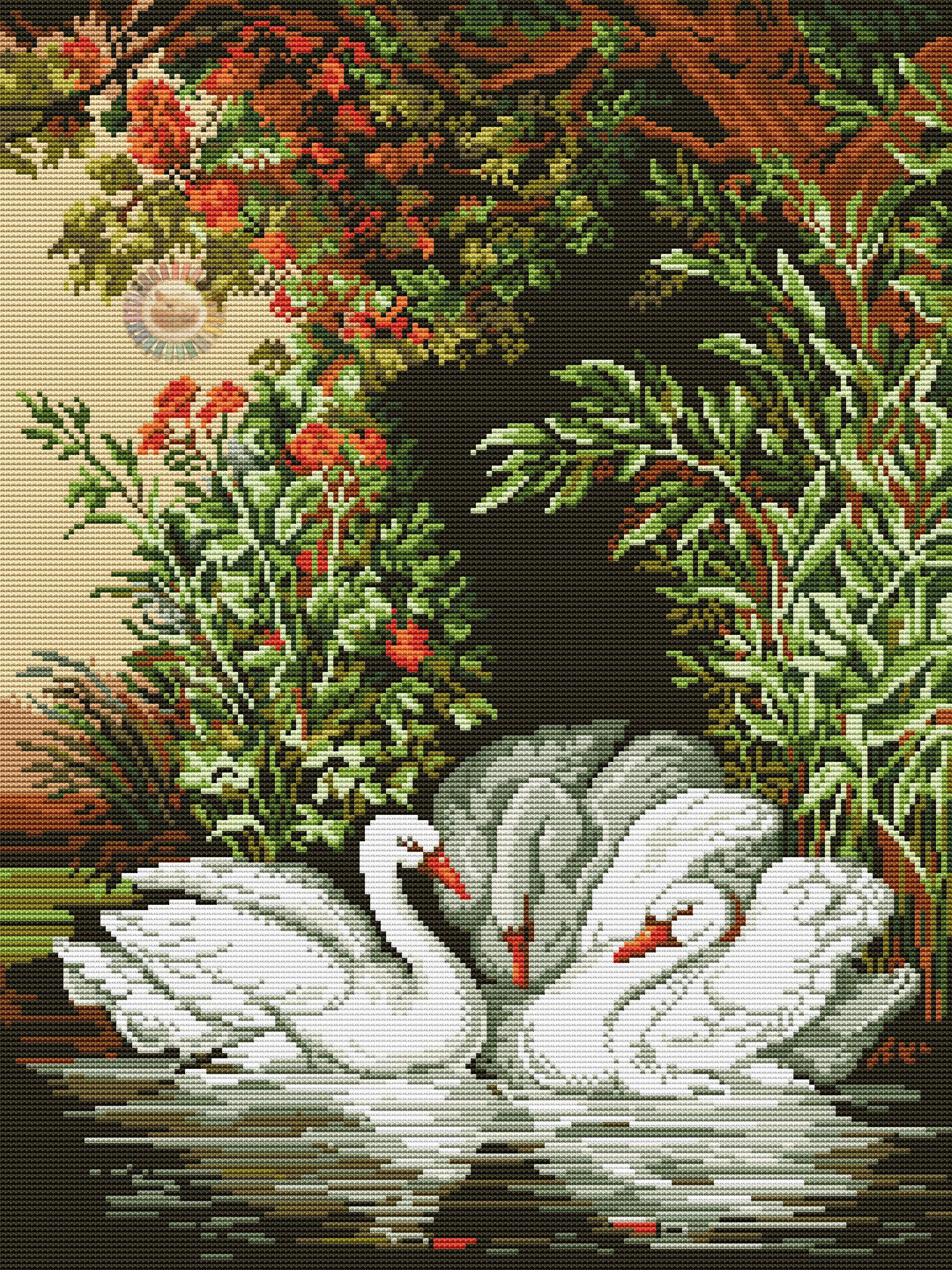 вышивание крестиком картинки лебеди того, руководство