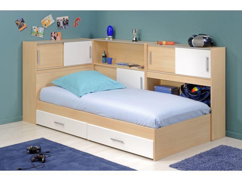 parisot stauraum einzelbett mit regalen snoop iii buche. Black Bedroom Furniture Sets. Home Design Ideas