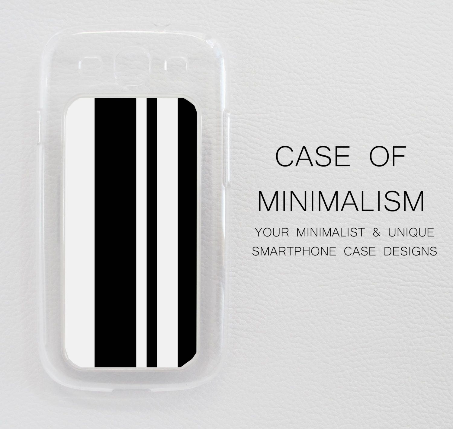 Samsung Galaxy S3 Case Skin Cover Minimalist Black And White Line Pattern Design in a Clear Case.
