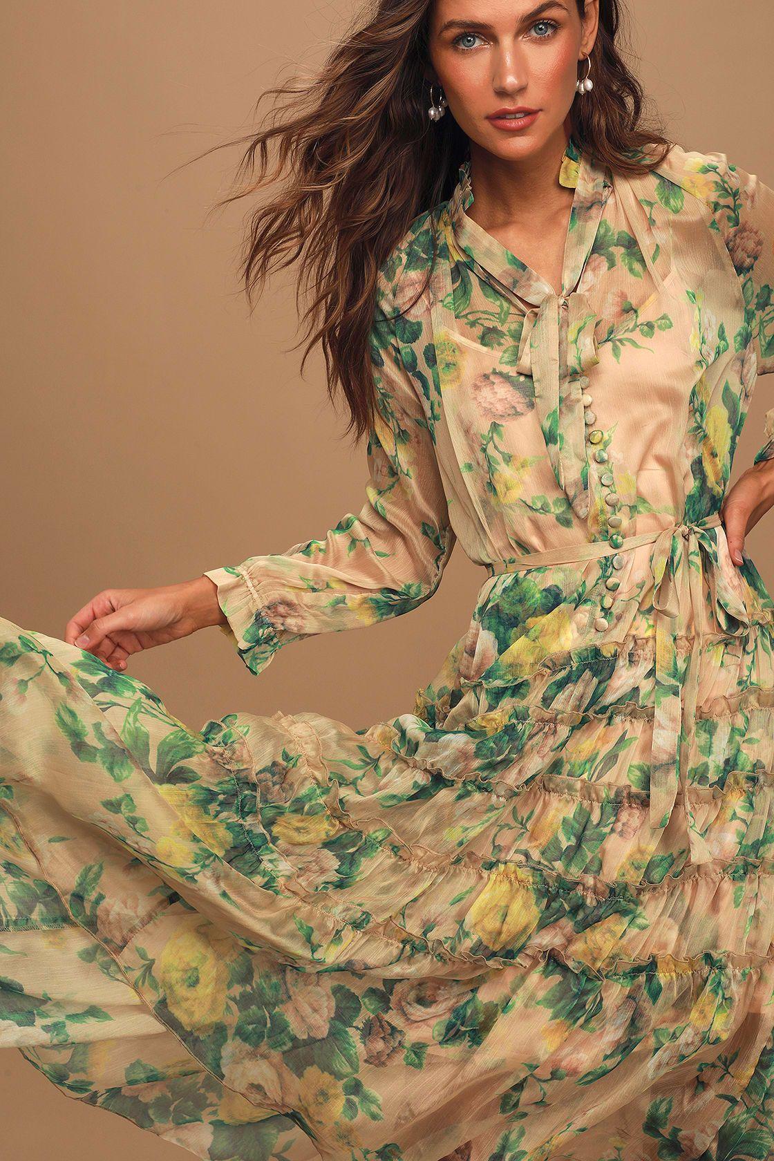 Cosmia Beige Floral Print Ruffled Tiered Midi Dress Tiered Midi Dress Womens Dressy Tank Tops Midi Flare Skirt [ 1680 x 1120 Pixel ]