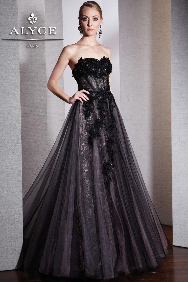 Tulle black strapless lace gown with a beautiful lace applique