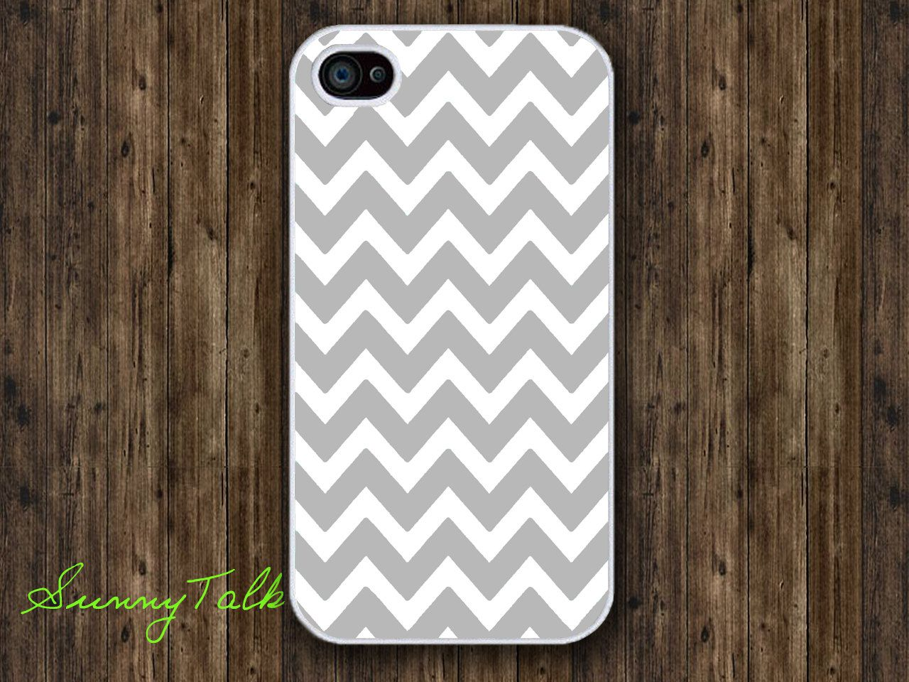 Iphone 4/4S Case - Grey Chevron on White Iphone 4 Case, Iphone 4S case, Waterproof Plastic Hard Case. $6.99, via Etsy.