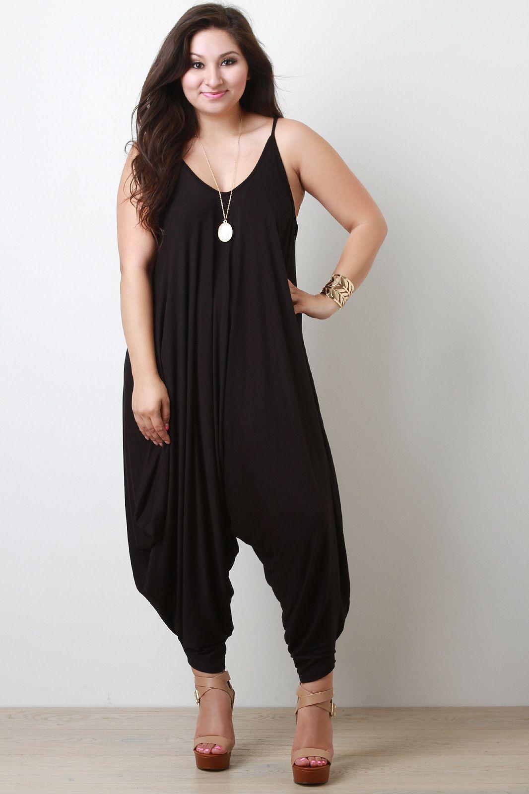 832fcb32754c Black harem pants jumpsuit in plus sizes hammer pants pinterest jpg  1066x1600 Curvy harem jumper dress