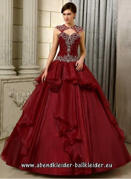 Ärmelloses Perlen Organza Ballkleid Abendkleid in Burgundy ...