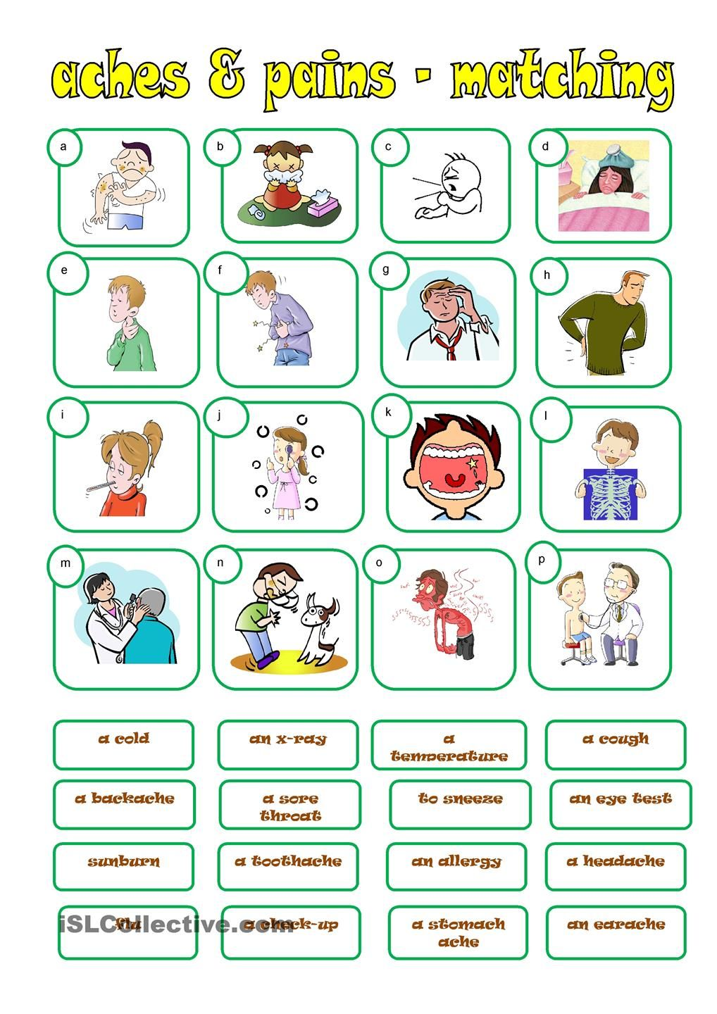 ACHES & PAINS matching Vocabulary Pdf, English Vocabulary, French Practice, Teaching  French,