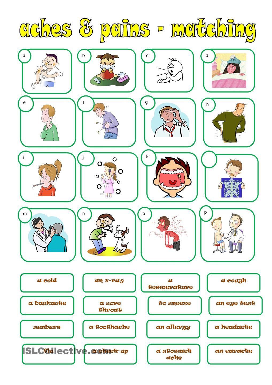 ACHES & PAINS | ESL - VOCAB - health | Pinterest | English ...