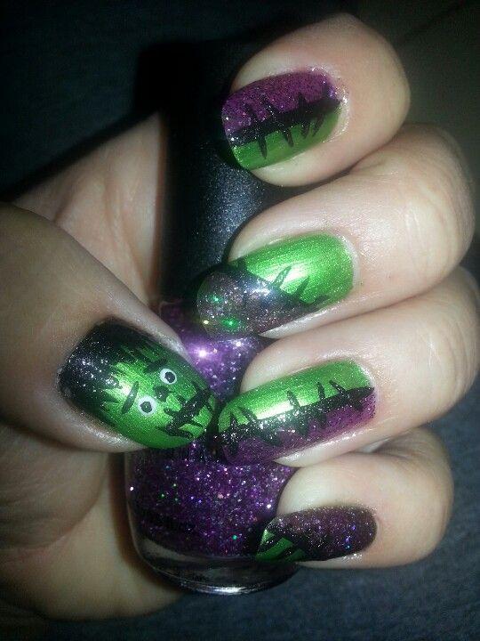 My Frankenstein Nail Design Diy Nails Pinterest Frankenstein