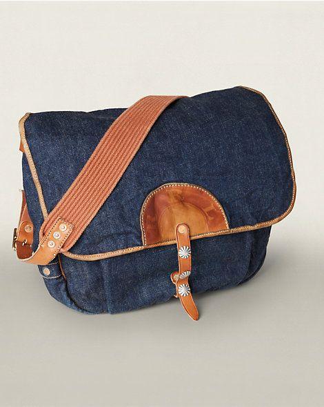 Denim-Leather Mailbag - Messengers & Cross Body Bags