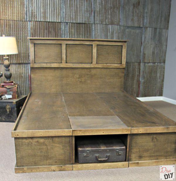 Platform bed with storage tutorial platform beds bed for Platform storage bed plans