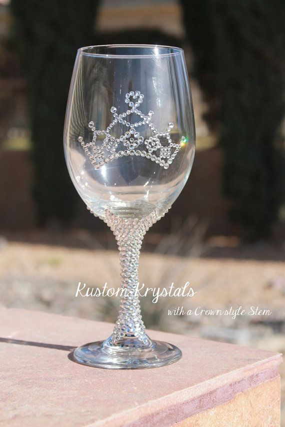 6a6bc8156f4 Swarovski Crystal embellished Wine glass with by KustomKrystals ...