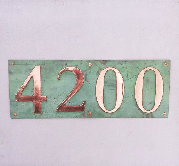 Green Copper Address Plaque 4x House Numbers In 3 75mm Etsy Address Plaque House Numbers Green Copper
