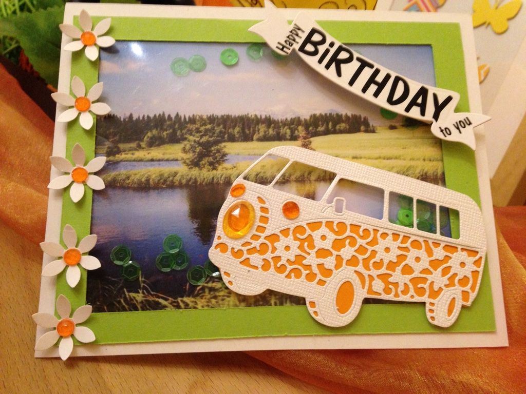 Geburtstagskarte VW Bus Schüttelkarte | DIY Cards / Karten | Home