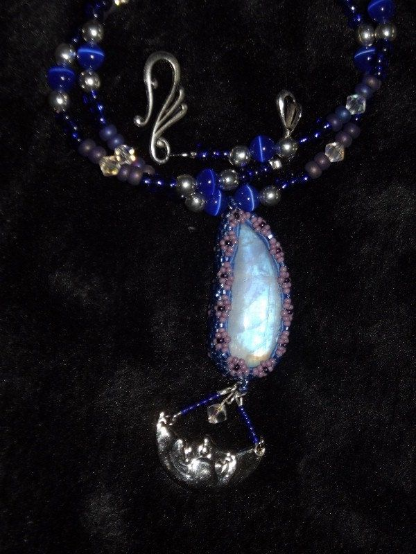 beaded rainbow moonstone with antique beads Czech cut beads glass lazer beads and other handmade glass beads