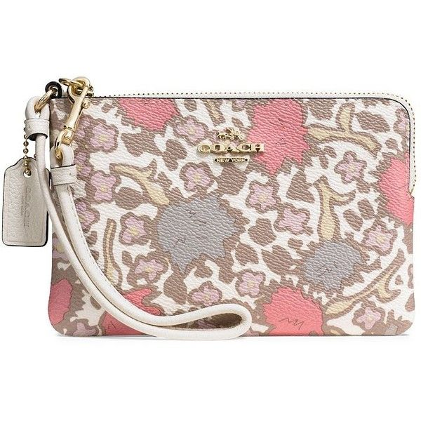 COACH Yankee Floral-Print Wristlet ($64) ❤ liked on Polyvore featuring bags, handbags, clutches, leather clutches, leather handbags, leather man bags, floral wristlet and brown leather purse