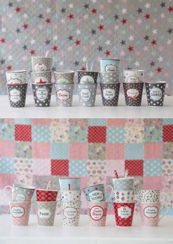 Foto Krasilnikoff Katalog Herbst Winter 2016 Happy Mug Happy Star Brightest Star Spruch Stern Sterne Punkte Dots Blume Shabby Vintage Krasilnikoff Becher