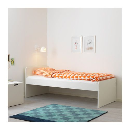 SLÄKT Bed frame with slatted bed base, white Bed frames - outdoor küche ikea