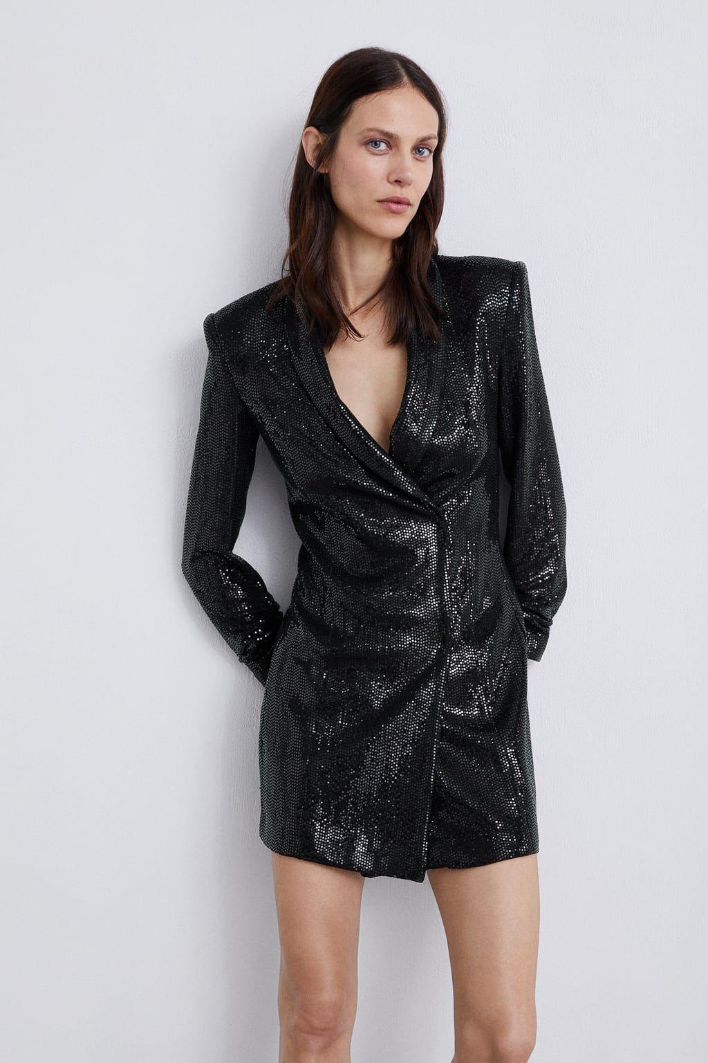 d50557a24194 Shiny blazer dress | Zara A/W Party Looks | Blazer dress, Dresses ...