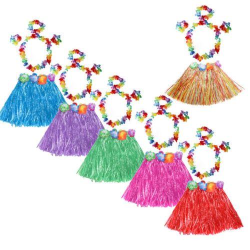 4d543a46c5 5Pcs Hawaiian Luau Headband Garland Wristband Party Hula Skirt Fancy ...