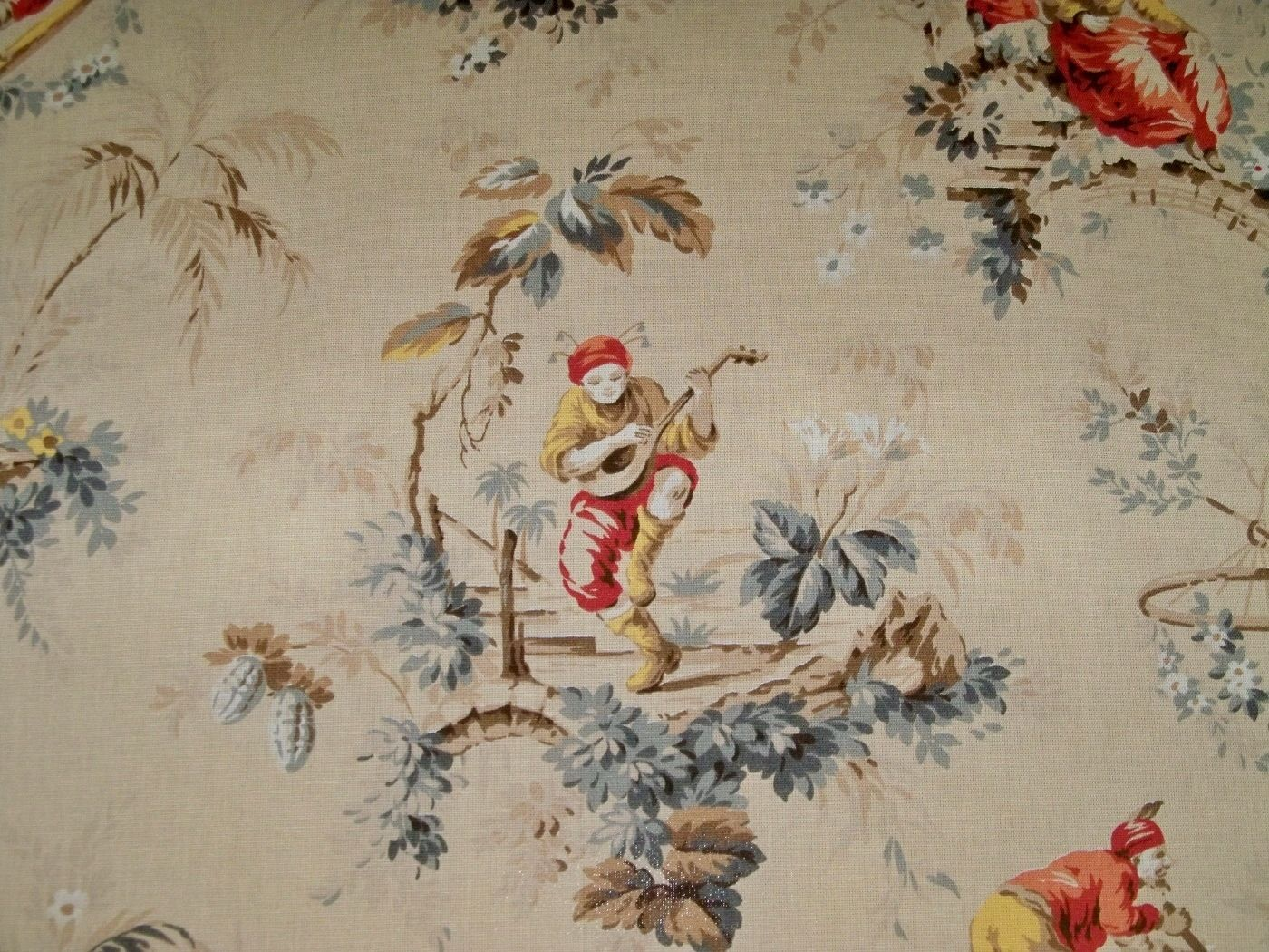 Designer Chinoiserie Toile Fabric 3 5 Yard Remnant Maize Multi | eBay
