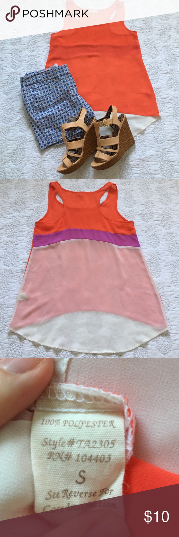 E (hanger) M color block tank This is an E (hanger) M flowy, sheer, color block, racer back, tank. The front is a vibrant tangerine, while the back is color blocked with tangerine, orchid, and ivory. It is a high-low hem. It's perfect in the summer with a brightly printed pair of shorts and your favorite wedges for a casual yet chic lunch look, or an effortless beach style. It has never been worn, but washed once. E (hanger) M Tops Blouses