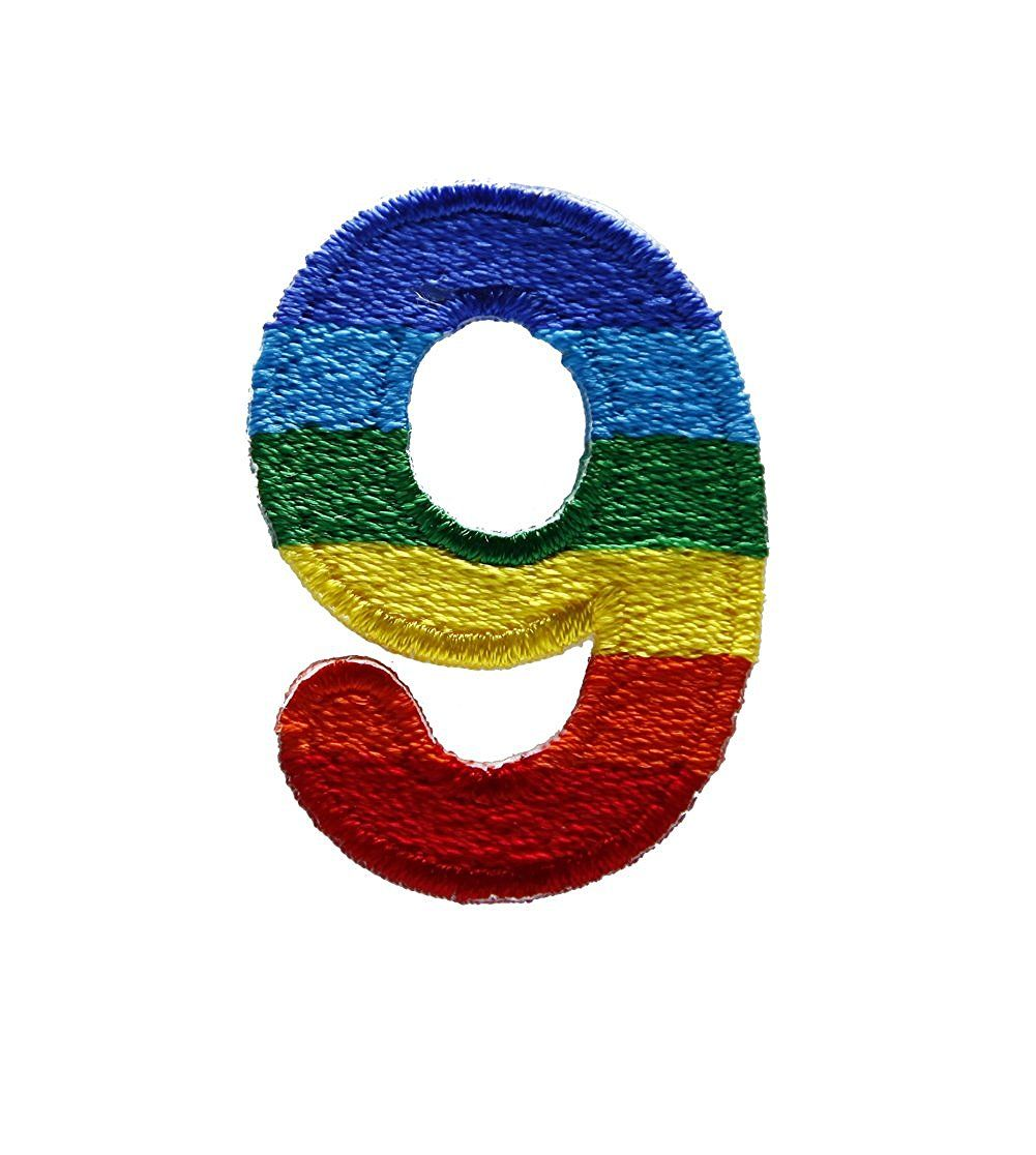 Character Number 9 NINE Rainbow Letter Alphabet Appliques Hat Cap Polo  Backpack Clothing Jacket Shirt DIY