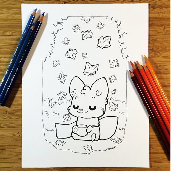160913 Fall Coffee Fox Coloring Page