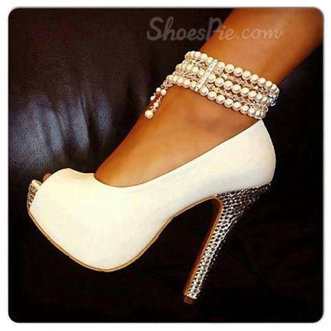 52d09439994 White Pearl Ankle Strap High Stiletto Heels   Shoes Shoes and more ...