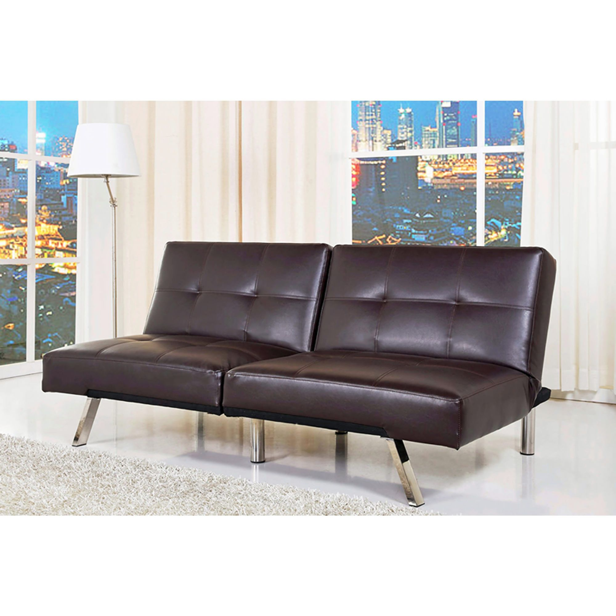 Abbyson Living Milano Leather Convertible Sofa Dark Brown Bjs Whole Club