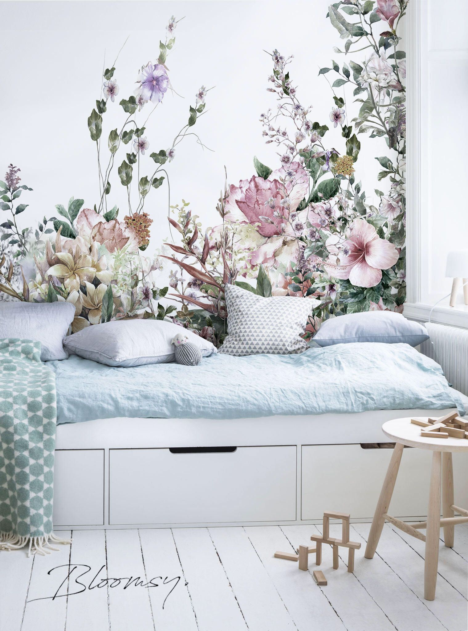 Removable wallpaper Field Flowers Mural Wallpaper