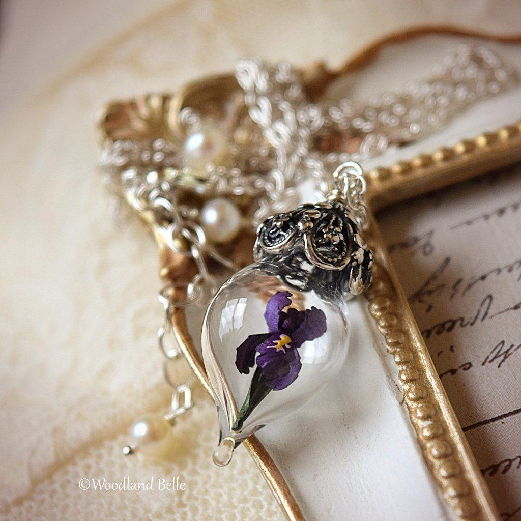 Purple Iris Flower Glass Vial Terrarium Necklace Woodland Belle