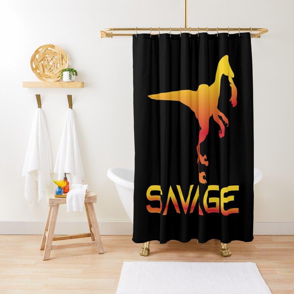 Savage Raptor Naughty Boy Shower Curtain By Christiaan Van Den
