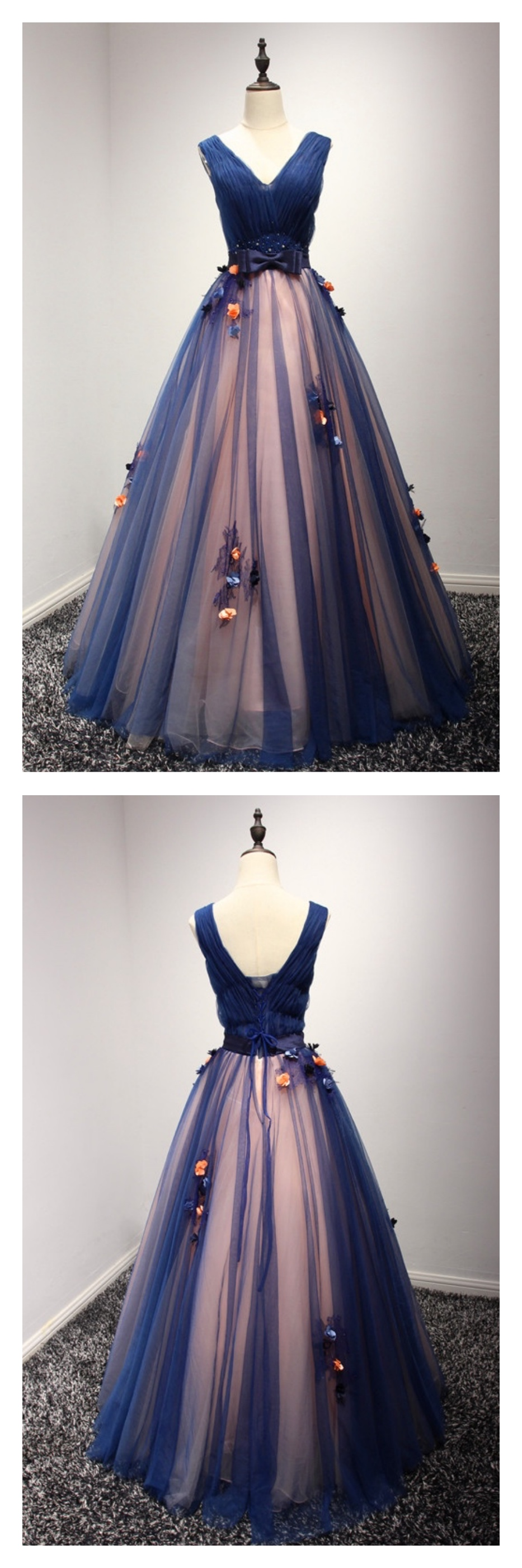 Vneck long tulle navy blue prom dresses evening gowned ball