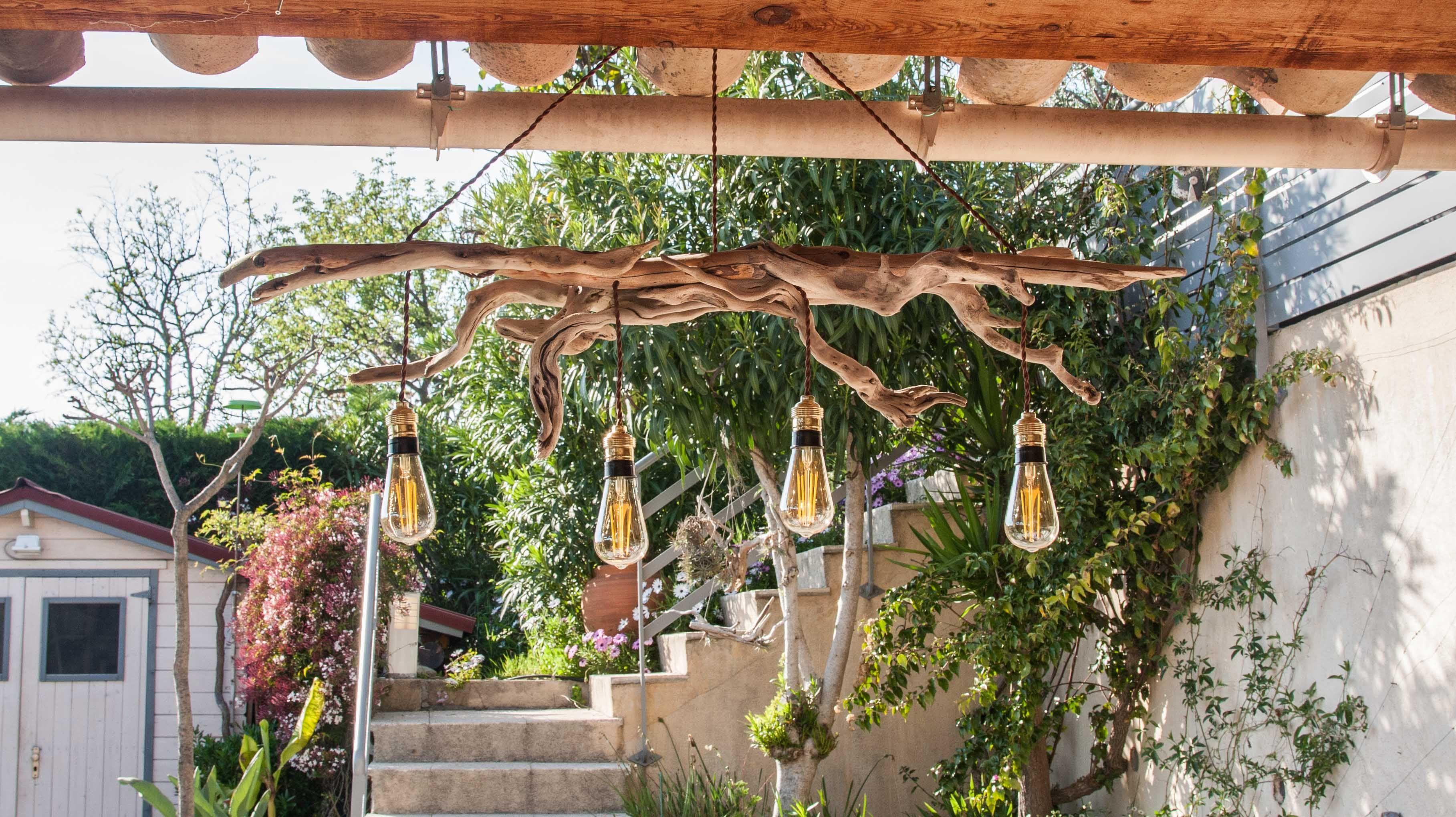 Bois Flotté Pour Pergola superbe lustre en bois flottés 4 ampoules vintage style