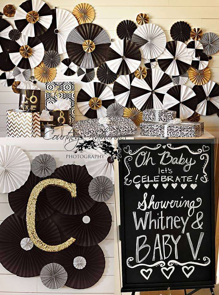 Black White Gold Baby Shower Party Ideas Gold Baby Showers White Baby Showers Bow Tie Baby Shower
