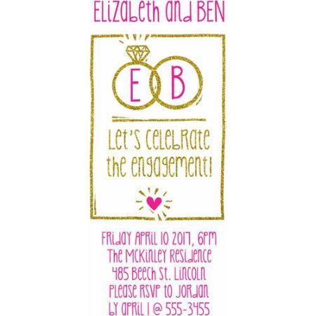 Playful Ring Party Invite Standard Engagement, Pink