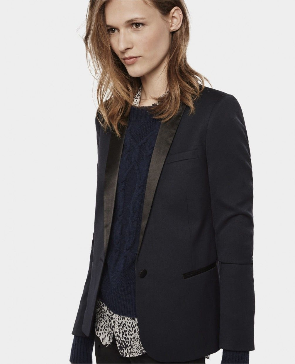 Smoking jacket with satin detail - All Clothing - Woman - The Kooples