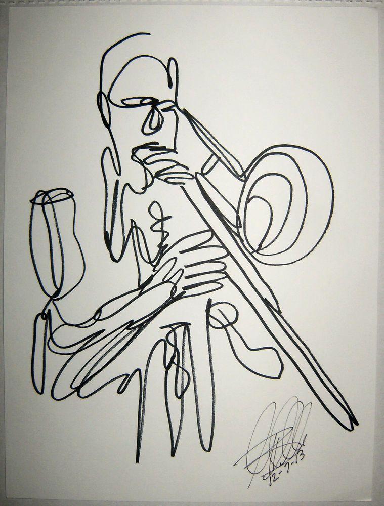 Art: Trombone Player: Original Ink Line Drawing: Signed ...  Art: Trombone P...