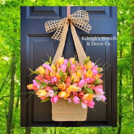 Photo of Everyday Wreath, Tulip Wreath for Front Door, Spring Front Door Wreath, Easter Door Decor, Wreath for Spring, Farmhouse Wreath, Tulip Basket